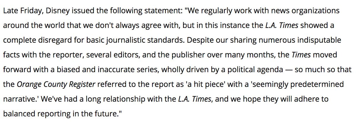 Read Disney's full statement in response to the LA Times