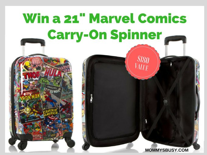Win a Marvel Comics Carry-On Spinner Luggage ($180 value)- Mommy's Busy, Go Ask Daddy