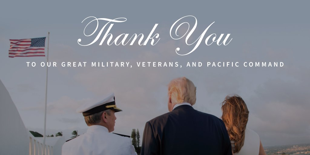 Thank you to our military, veterans, and the U.S. Pacific Command.  Next stop of #POTUSinAsia: Japan https://t.co/EQpoaMMMuN