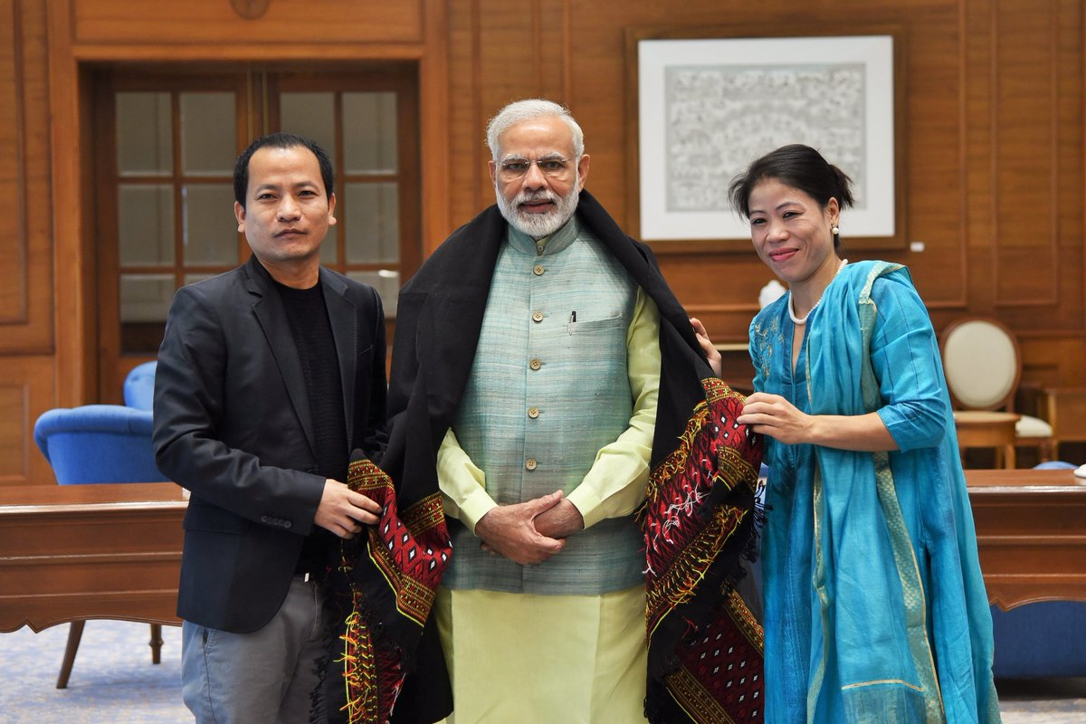 Delighted to meet noted boxer and Rajya Sabha MP Mary Kom. @MangteC