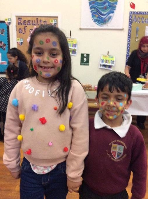 L3 are doing funny things to raise money for children in need. Look at these spotty faces! #childreninneed2017 https://t.co/78Z2H9Uj4G