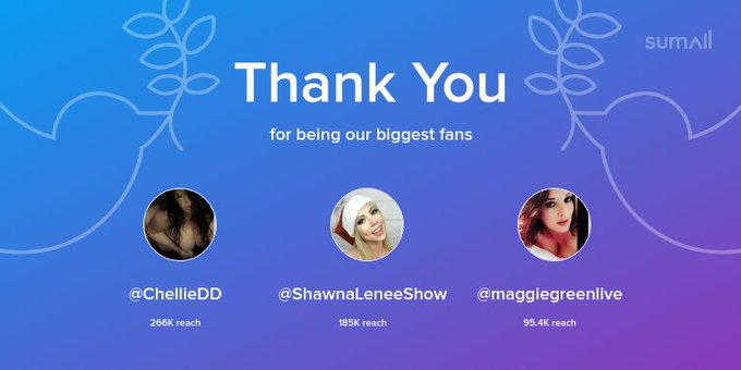 Our biggest fans this week: @ChellieDD, @ShawnaLeneeShow, @maggiegreenlive. Thank you! via https://t