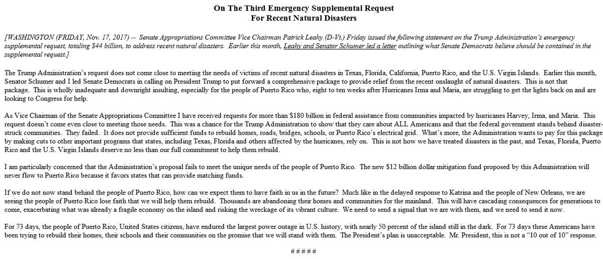appropriations vice chairman leahys reax to trump adms 3rd emergency supplemental request https