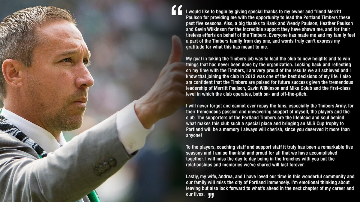 RT @TimbersFC: Caleb Porter's message to the organization, team staff, fans and community. #RCTID https://t.co/hf6ZTYWJA8