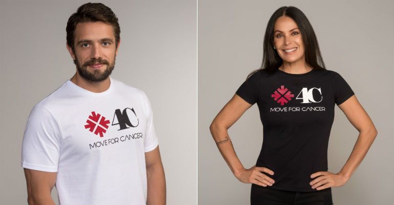 Carolina Ferraz. Foto do site da Caras Brasil que mostra Rafael Cardoso e Carolina Ferraz apoiam campanha contra o câncer