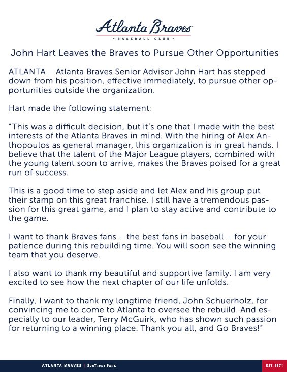 John Hart Leaves the Braves to Pursue Other Opportunities: https://t.co/FDEUFaFEio