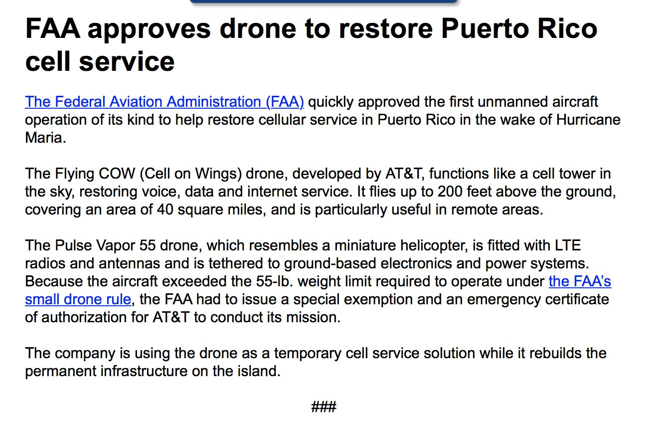 Inbox: FAA approves drone to restore Puerto Rico cell service https://t.co/pZ47FFAI6L