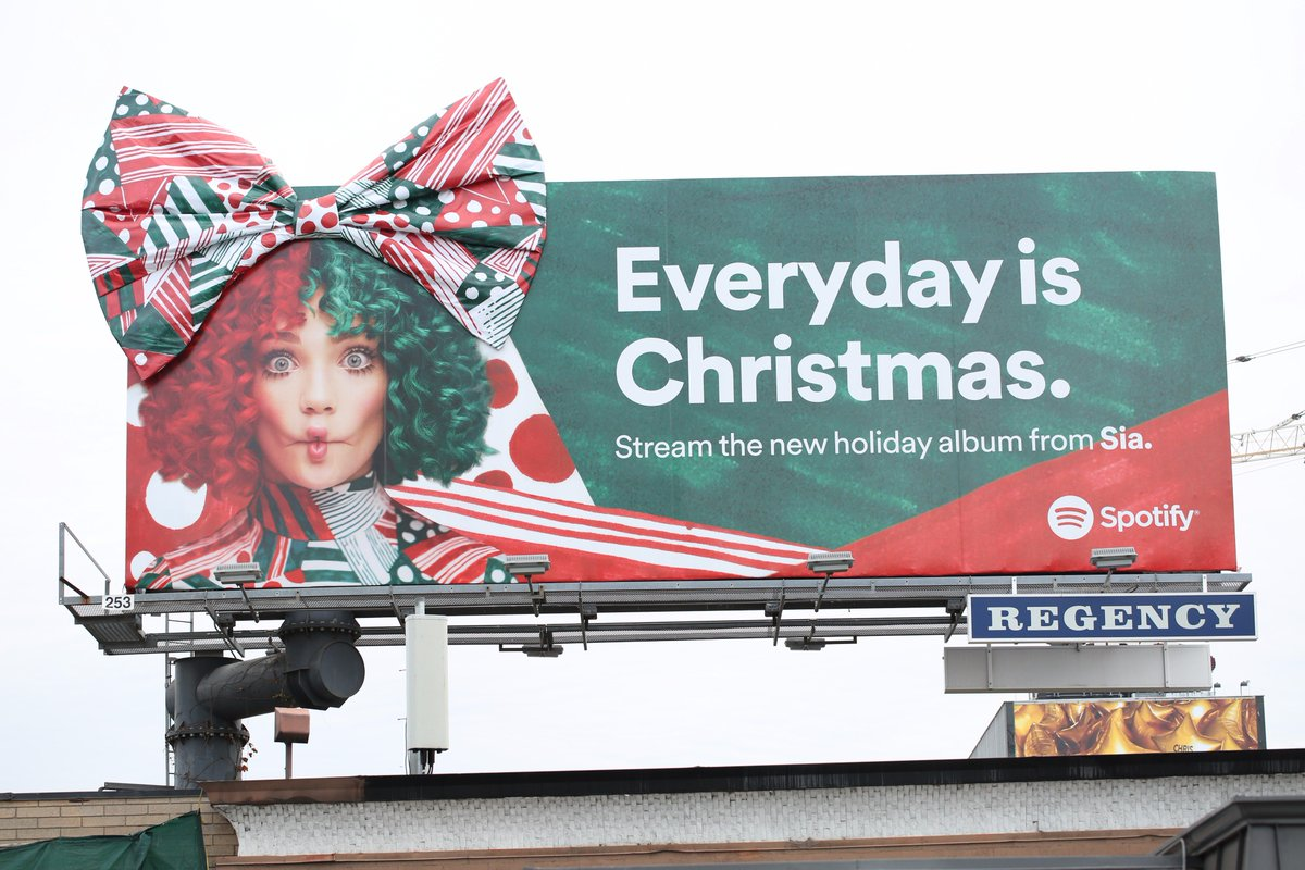 Feel the holiday cheer with 'Everyday Is Christmas' on @Spotify 🎀🎁 - Team Sia