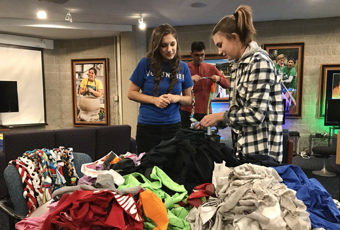 #UISedu students in the Loud 4 Animals Student Organization are making DIY rope toys out of t-shirts for shelter dogs at @APLSpringfield! https://t.co/vvFlVsoLpN