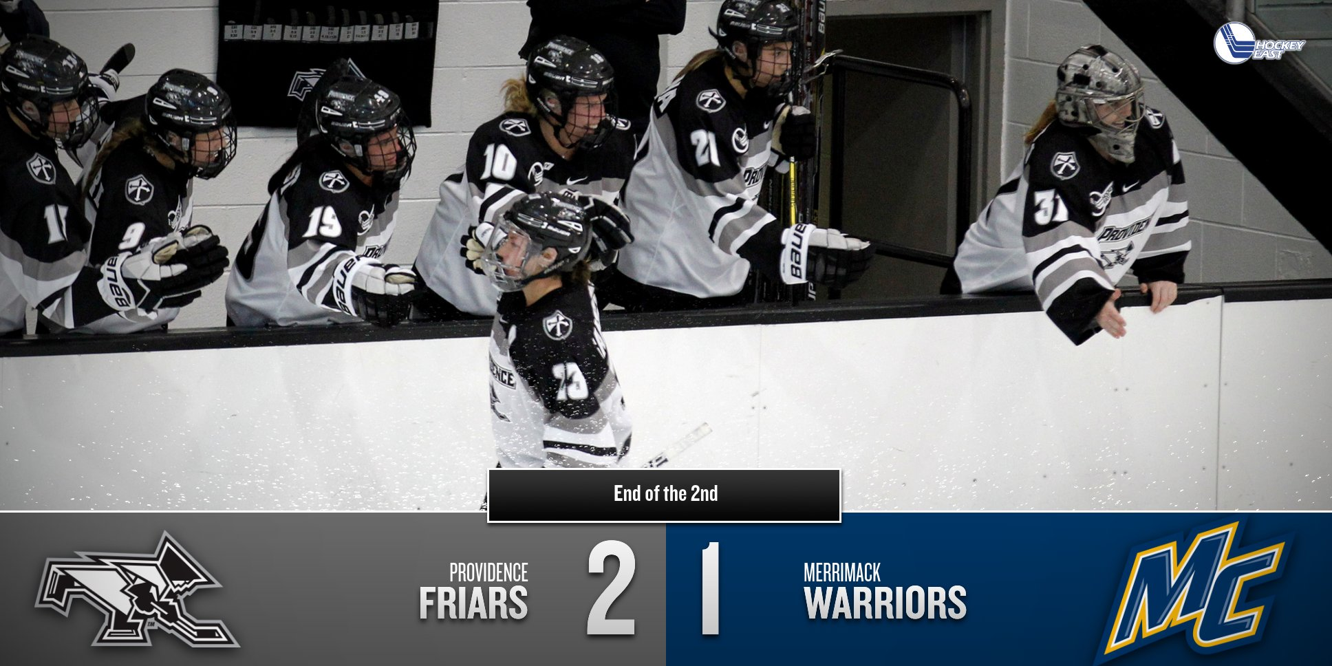20 minutes to go! Friars holding onto a 2-1 lead and a 29-19 shot advantage going into the 3rd #GoFriars https://t.co/gAMADXrrBQ