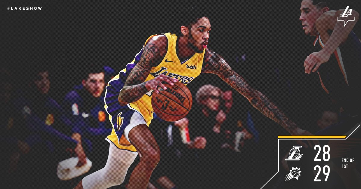 Brandon Ingram is in full control.He's got 12 pts, 4 reb, 3 ast in just one quarter. Brook Lopez adds 10 pts.