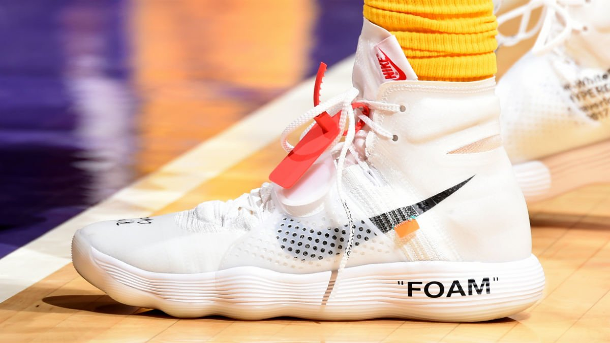 eb54600a9167  solewatch   jordanclarksons rocking the off-white x nike react hyperdunk.  Share on Twitter