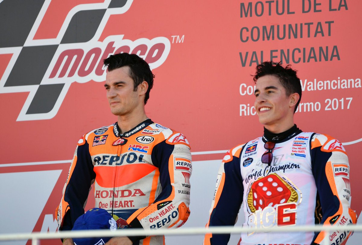 test Twitter Media - .@marcmarquez93 and @26_DaniPedrosa were the two riders to score the most podium finishes this year, 12 and 9 respectively, making the #RepsolHondaTeam the most successful team of 2017, with eight double-podium finishes! 👏 https://t.co/NfgxlHczhY
