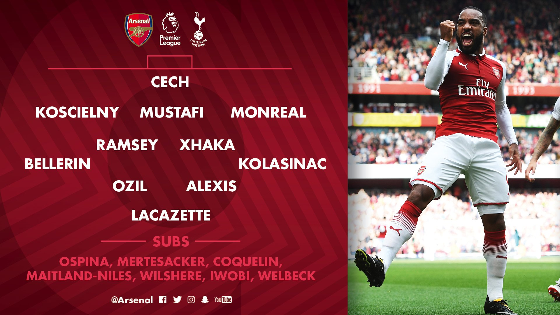 Here it is - our starting lineup for the first north London derby of the season ��  #AFCvTHFC https://t.co/rEnGhDvMVj