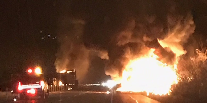 Fiery Crash Shuts Down I-84 in Southbury