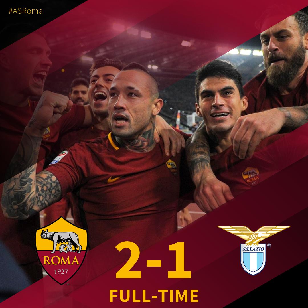 RT @ASRomaEN: FT | #RomaLazio 2⃣-1⃣  Diego Perotti. Radja Nainggolan. Roma win the derby! #ASRoma https://t.co/uXWMclodpR