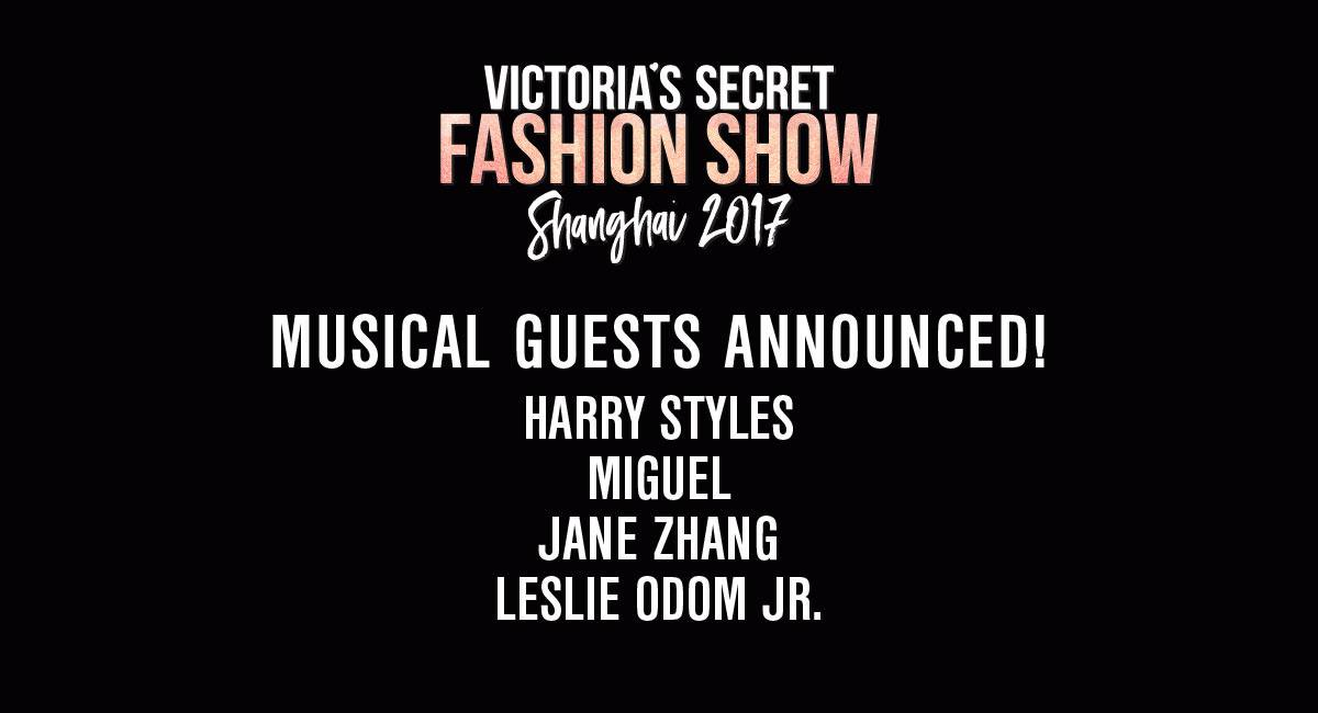 THIS JUST IN: The 2017 #VSFashionShow musical guests are @Harry_Styles, @Miguel, @JaneZhang & @leslieodomjr! https://t.co/2HHYJ15RKW