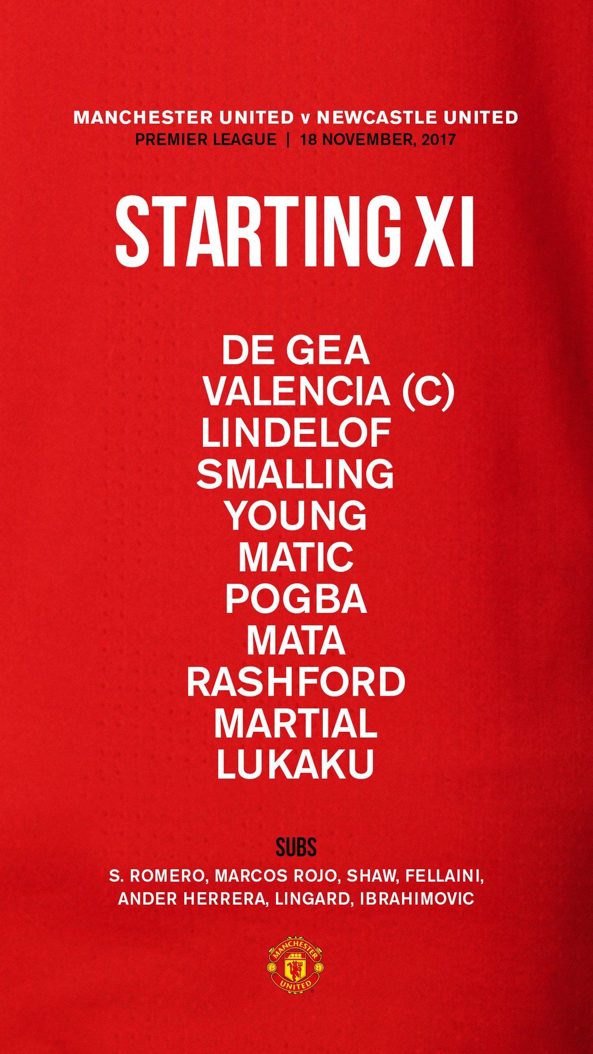Today's #MUFC starting XI is in... �� https://t.co/vmDa4Aw58R