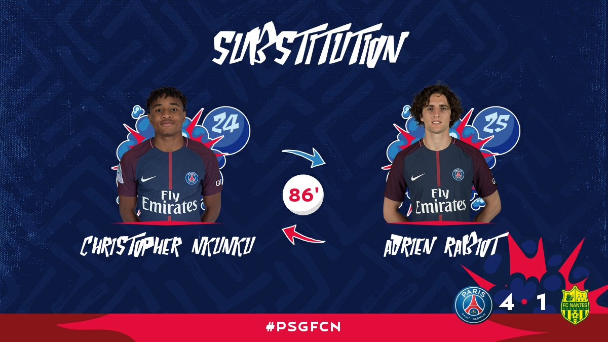 86' Third and final substitution for PSG: @c_nk97 replaces @Adriien_Rabiiot #PSGFCN https://t.co/f4HltKdKOU