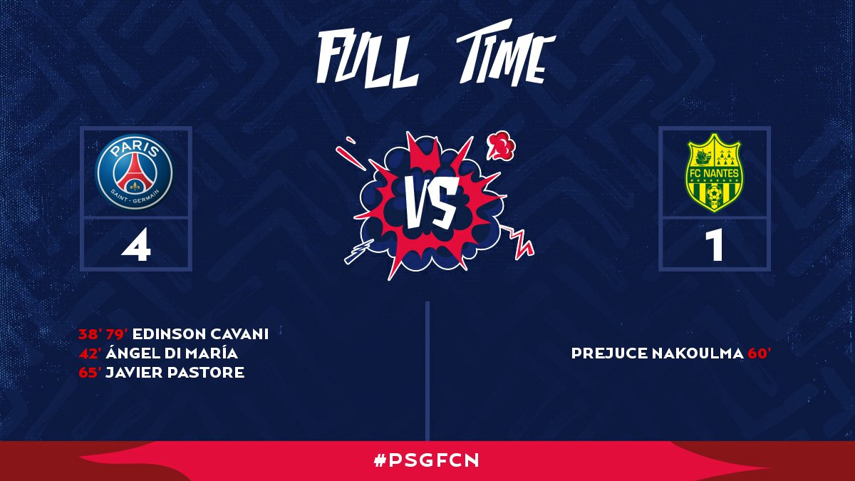 FULL TIME: PSG simply too much for Nantes as they cruise to a 4-1 win at the Parc des Princes!! #PSGFCN #AllezParis 🔴🔵 https://t.co/rRJnlHPqRC