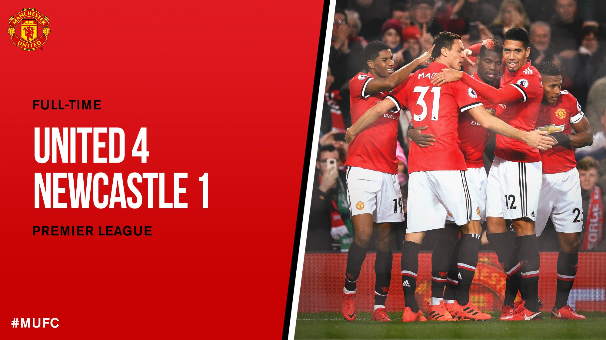 FT: #MUFC 4 Newcastle 1.   Four goals ⚽️ Three points ✅ Two players back from injury �� One great performance �� https://t.co/FOM6Y0n2f3