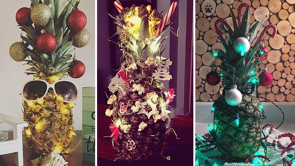 Pineapple Christmas trees are apparently the new festive