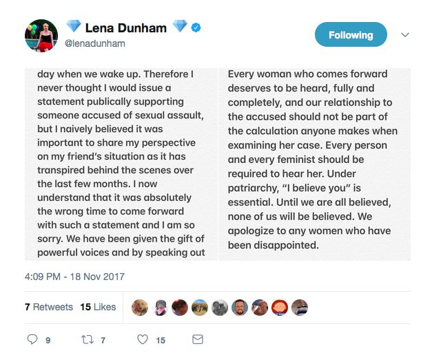 Dunham has since deleted this statement from her Twitter account