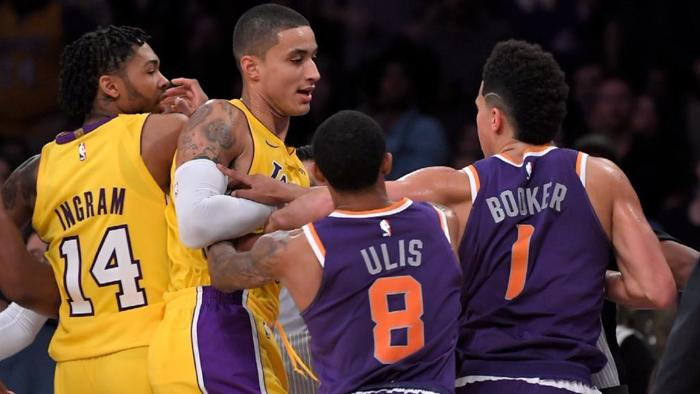 Lonzo Ball hears about it after walking away from a skirmish against the Suns https://t.co/guiWM5MyCr https://t.co/ou5OwvsuNo