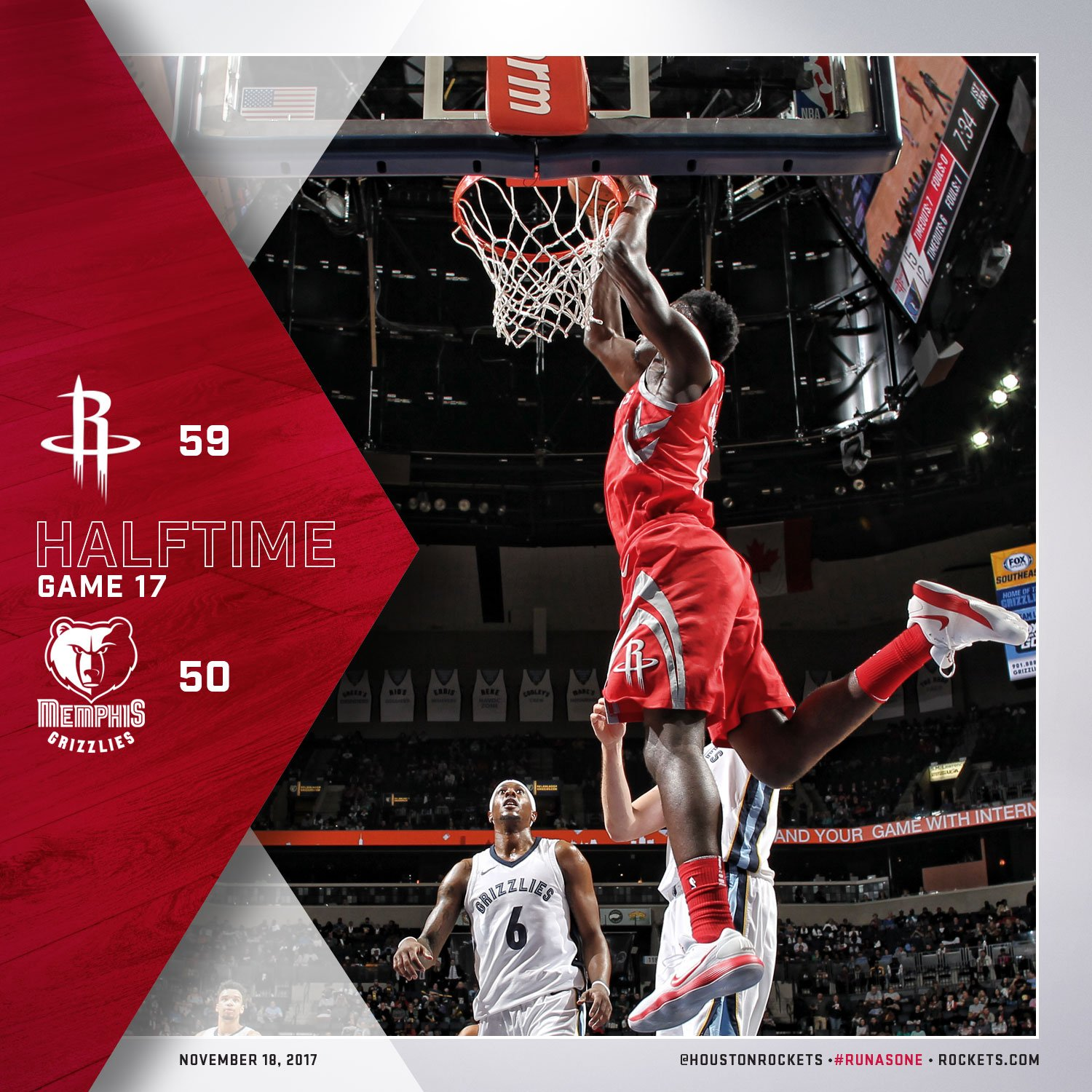 Halftime in Memphis.   �� @JHarden13 14pts �� @CP3 12pts �� @CapelaClint 11pts/9reb https://t.co/YJLQisKFFl