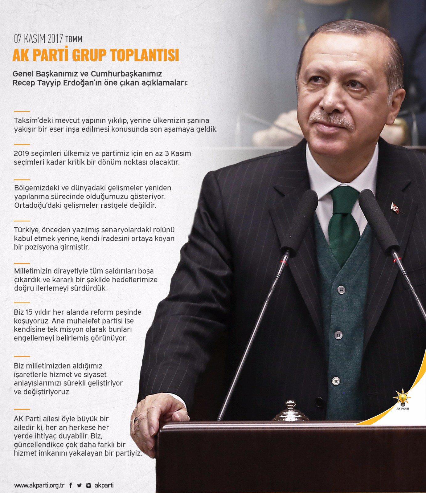 Genel Başkanımız ve Cumhurbaşkanımız Recep Tayyip Erdoğan'ın AK Parti Grup Toplantısı'ndaki öne çıkan açıklamaları. https://t.co/EXu9qgJ0Ic