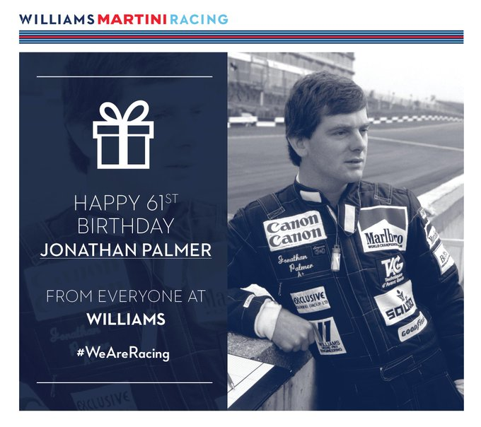 Everyone at Williams would like to wish Jonathan Palmer a big happy birthday!