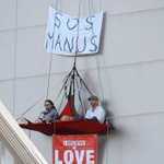 Protesters hanging four storeys above Julie Bishop's Perth office
