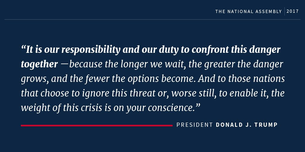 'It is our responsibility and our duty to confront this danger together...' #POTUSinAsia https://t.co/xS1XTVslHR
