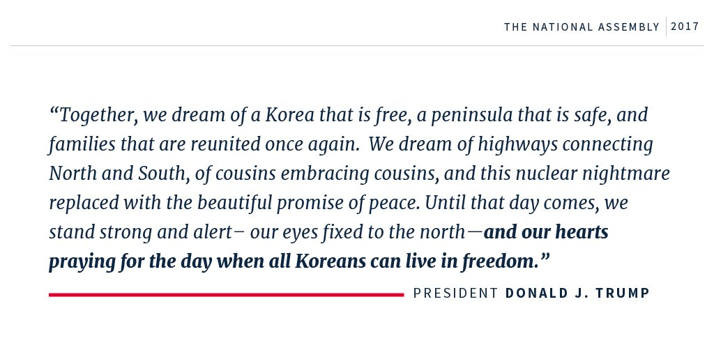 '...and our hearts praying for the day when all Koreans can live in freedom.' #POTUSinAsia https://t.co/Yn3T9iEYiL