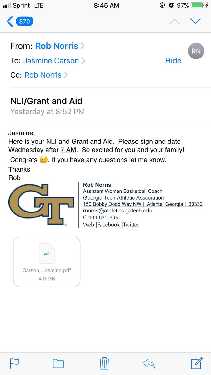 Congratulations @JazzC2_ can't wait to watch you fill it up at GT!! https://t.co/WfhMkfrUCo