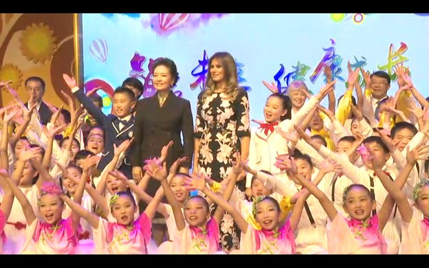 For the finale, Madame Peng and Mrs Trump join the student performers on stage. https://t.co/IPBRtIWidW