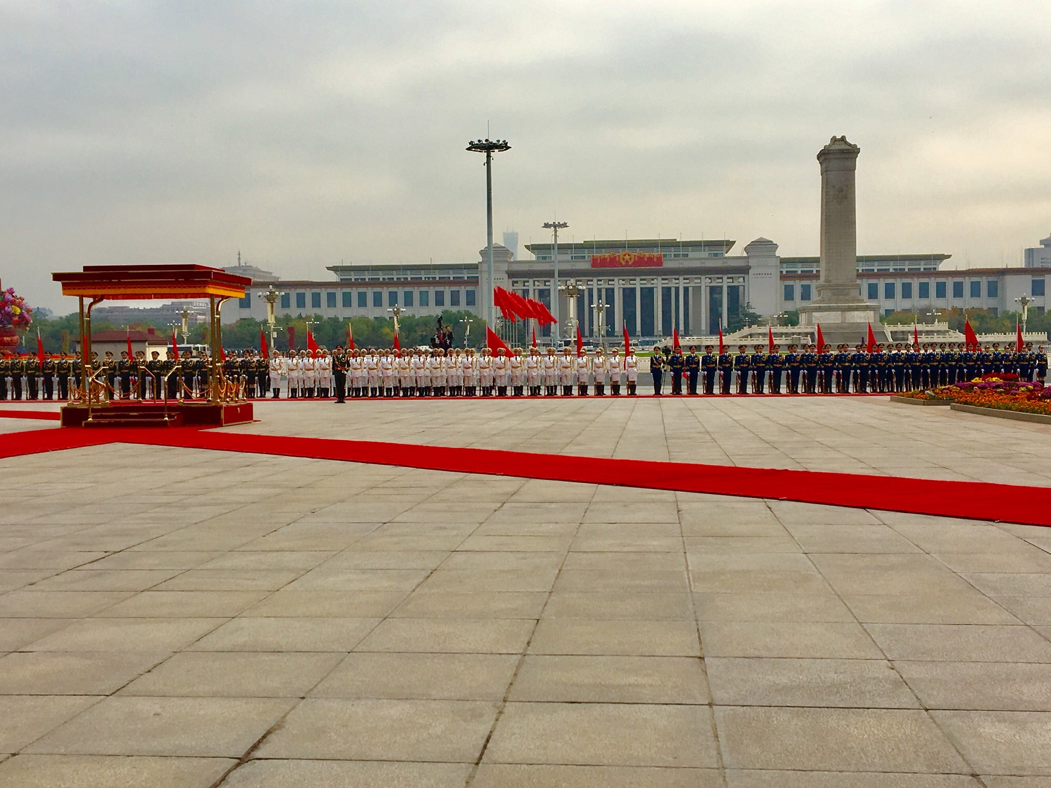 Welcome ceremony in Beijing, China at the Great Hall. #POTUSinAsia https://t.co/xGkMq9txWF