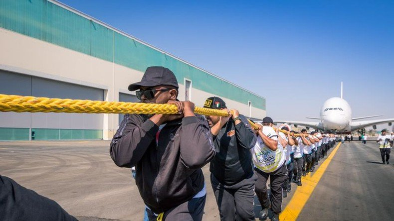 300-ton plane & 56 Dubai cops: Police sets Guinness World Record by pulling Airbus A380