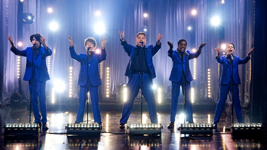 "StrangerThings kids go Motown as ""The Upside Downs"" on @LateLateShow"
