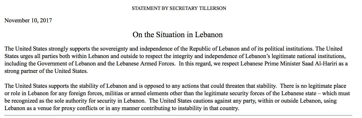 Tillerson statement on Lebanon https://t.co/4IzbirryKN