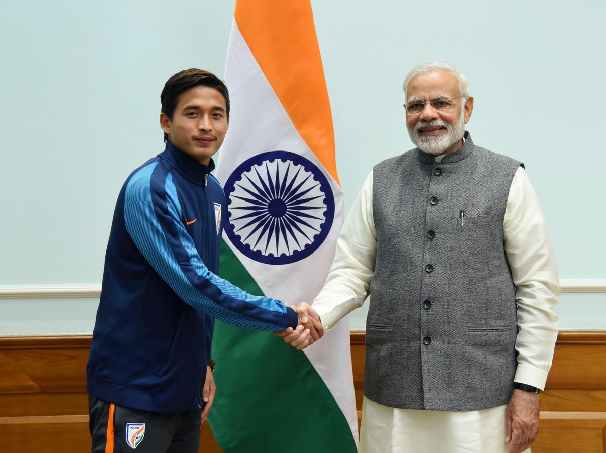 A picture of my meeting with Nongdamba Naorem, a talented football player from Manipur.