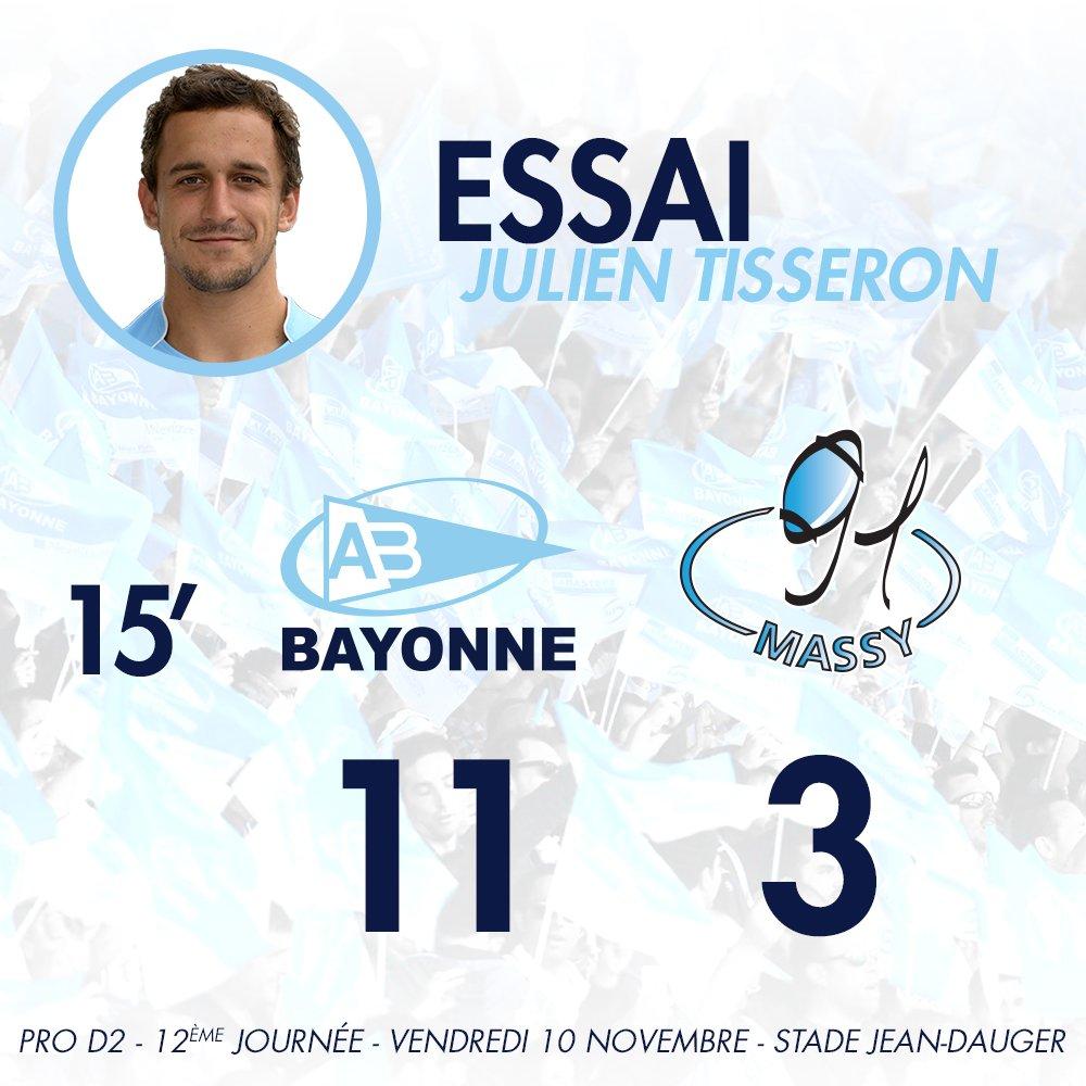 15' Oui ! Bel essai de Julien Tisseron après le superbe travail de l'arrière Martin Bustos Moyano ! #ABRCME https://t.co/LTD4AuHf3k