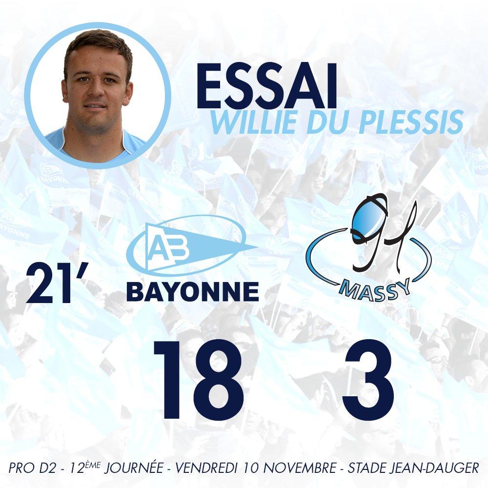 21' Essai de Du Plessis entre les perches ! Les Bayonnais ont profité de leur supériorité numérique #ABRCME https://t.co/neDIulUkV6