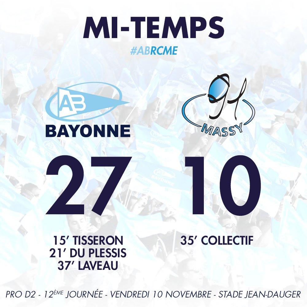 Mi-temps ! L'Aviron mène 3 essais à 1 face à Massy ! 27-10 #ABRCME https://t.co/cjxcgdcLaG