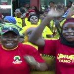 Jubilee supporters celebrate following the re-election of President Kenyatta