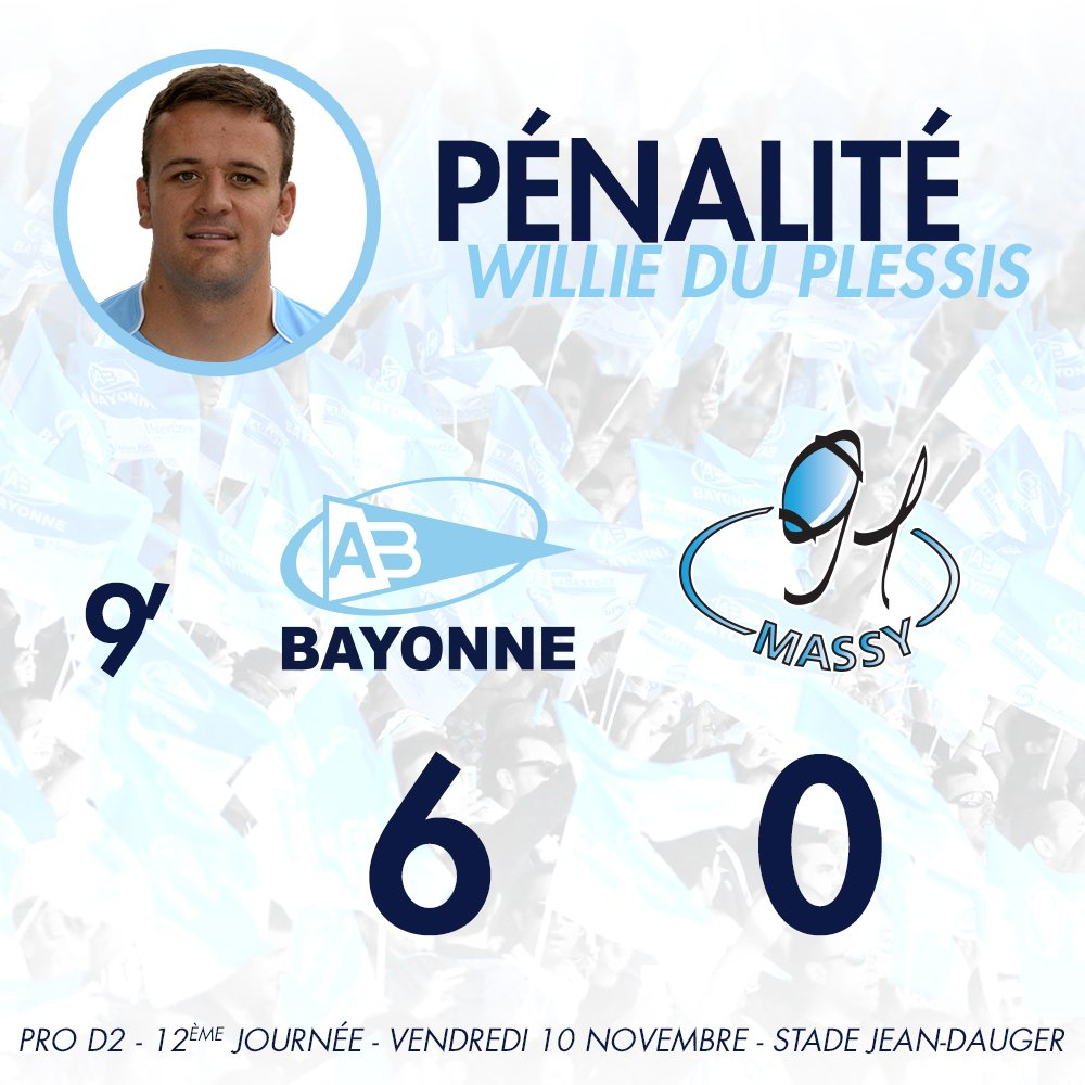 9' Ça passe pour le Bayonnais ! L'Aviron mène 6-0 ! #ABRCME https://t.co/sSDLkEDIv1