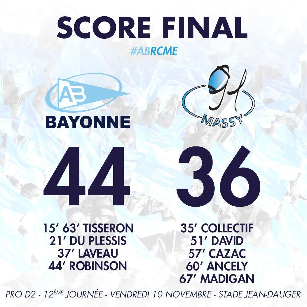 C'est fini ! Victoire des Ciel et Blanc dans un match à 10 essais ! 44-36 #ABRCME https://t.co/xuwYdpYSgl