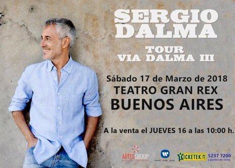 🔵 A LA VENTA el JUEVES 16 a partir de las 10:00 h Buenos Aires - 17 de marzo #TourViaDalmaIII🇦🇷 Entradas en 👉🏼 boletería @teatrogranrex y @TicketekAr  #ConsultenRedesOficiales de @SDalmaoficial  #NadieEsPerfecto 😉 https://t.co/LnaEKMHiV4