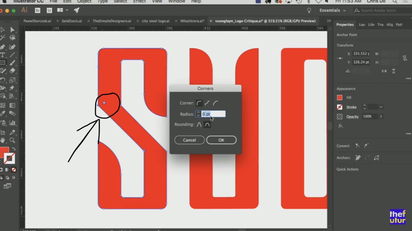 Did you know that in Illustrator, if you select the little circle icon that shows when a point is selected that you can numerically control the curve of a corner? Had no idea! Credit to @theChrisDo @thefuturishere #Illustrator #GraphicDesign https://t.co/V58YTRui5o