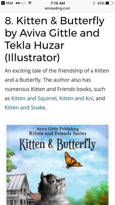 Book giveaway for Kitten & Butterfly by Aviva Gittle Nov 05-Nov 12, 2017